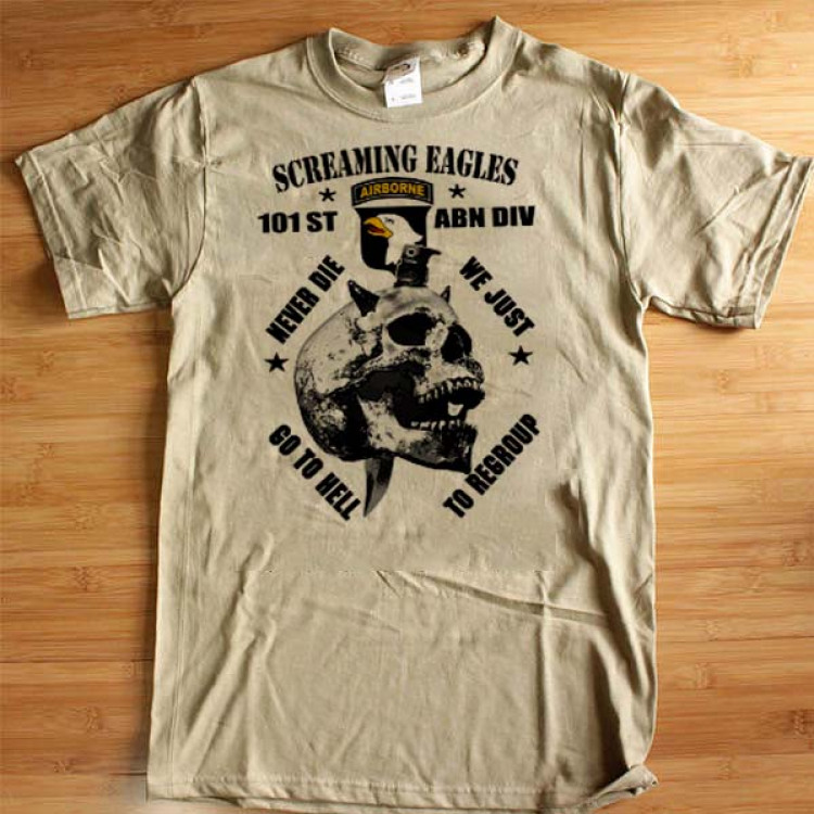 101 Airborne T-Shirt US Army Screaming Eagle US Armed Force Cotton Tee