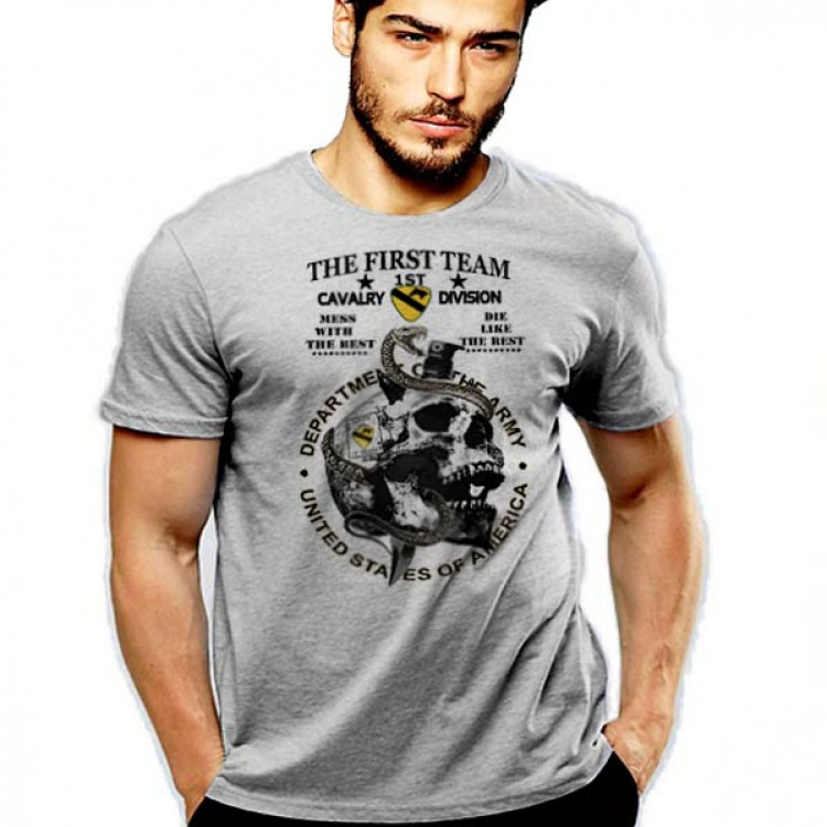 1st Calvary Division T-Shirt US Army Infantry Iron Horse The First Team Cotton Tee
