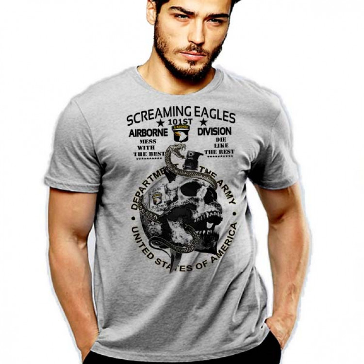 101st Ariborne T-Shirt US Army The Screaming Eagles Skull And Snake Military Cotton Tee