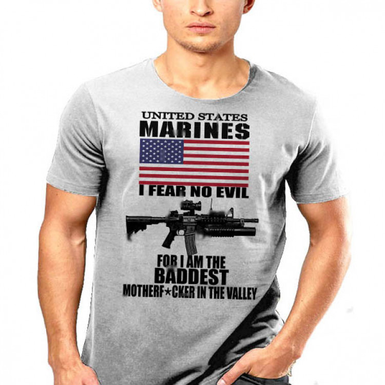 USMC Hardcore Leatherneck T-Shirt US Flag No Fear I Am The Baddest In The Valley
