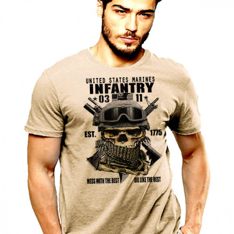 USMC Infantry 0311 T-Shirt Skull And Shemagh Hardcore Leatherneck Cotton Tee