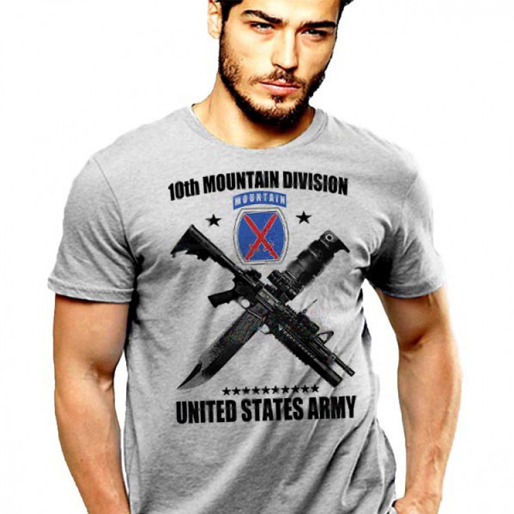 US Army 10th Mountain Division T-Shirt Climb To Glory Crossed Weapons And Parachute
