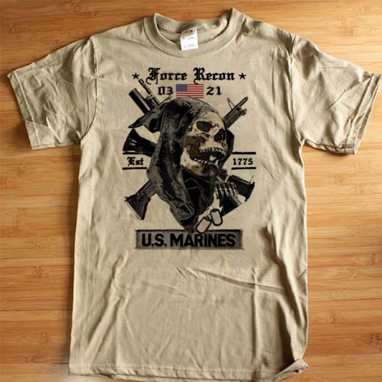 USMC Force Recon 0321 T-Shirt Grim Reaper Semper Fidelis Leatherneck Cotton Tee