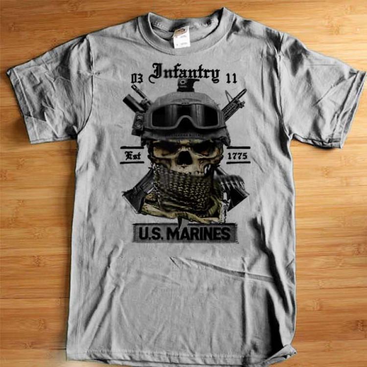 USMC InfantryT-Shirt 0311 Grunt Semper Fidelis Leatherneck Shemagh m203 Cotton Tee