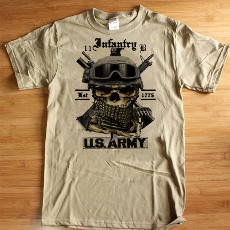 Army Infantry 11 Bravo T-Shirt Skull And Shemagh Hardcore Combat Arms Cotton Tee