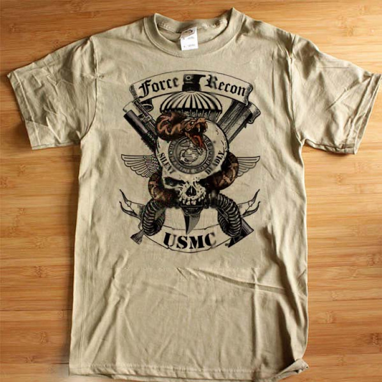 USMC Force Recon 0321 T-Shirt Swift Silent Deadly Semper Fidelis Leatherneck Cotton Tee