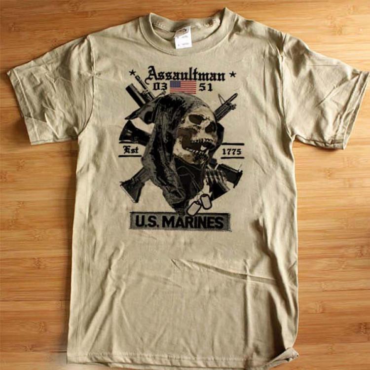 USMC Assaultman 0351 T-Shirt Grim Reaper Semper Fidelis Leatherneck Cotton Tee