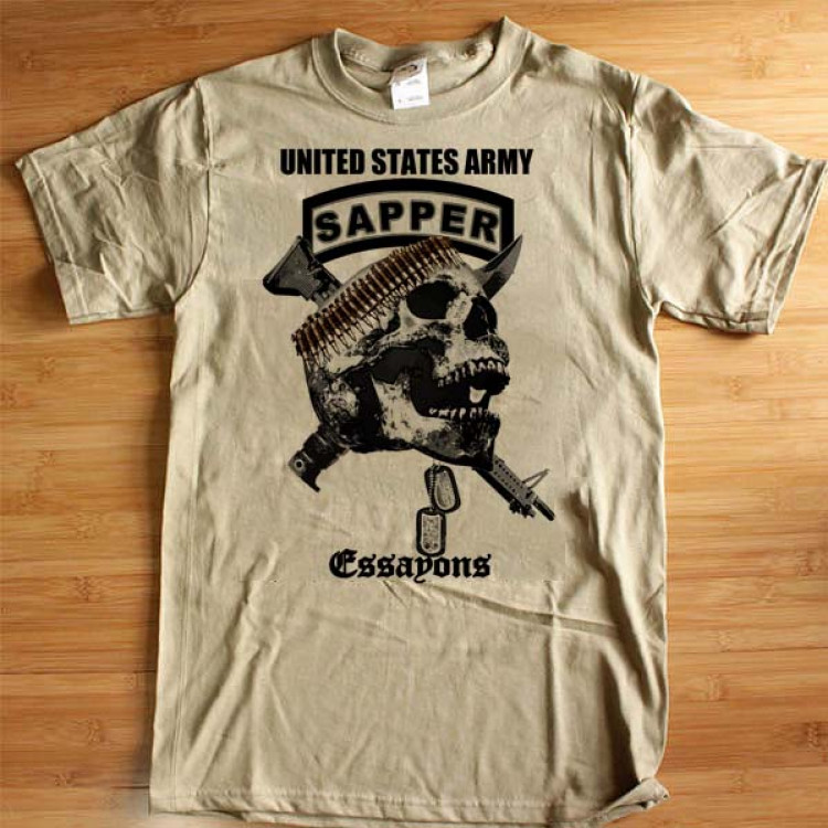 Combat Engineer Sapper T-Shirt US Army Essayons Pave The Way Military Cotton Tee