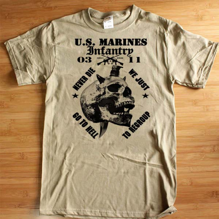 USMC Infantry T-Shirt Semper Fi Do Or Die Marine Crossed Rifle Cotton Tee