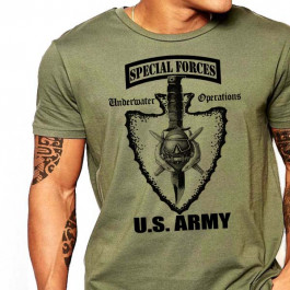 Special Forces T-Shirt US Army Scuba Badge Underwater Operations Military Cotton Tee