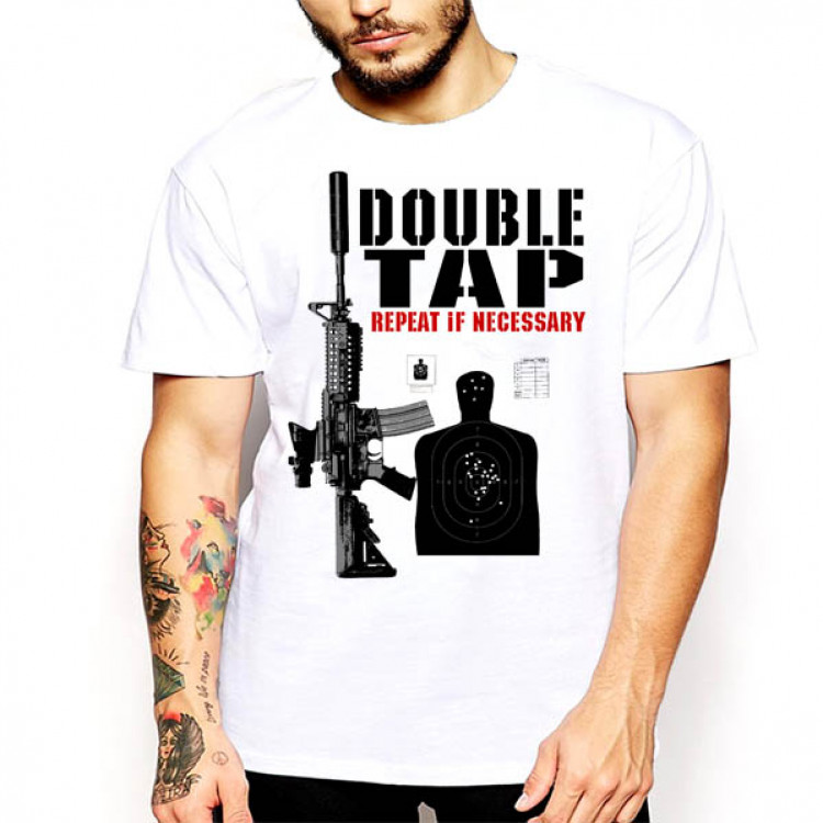Assault Rifle T-Shirt Double Tap Men Cotton tee