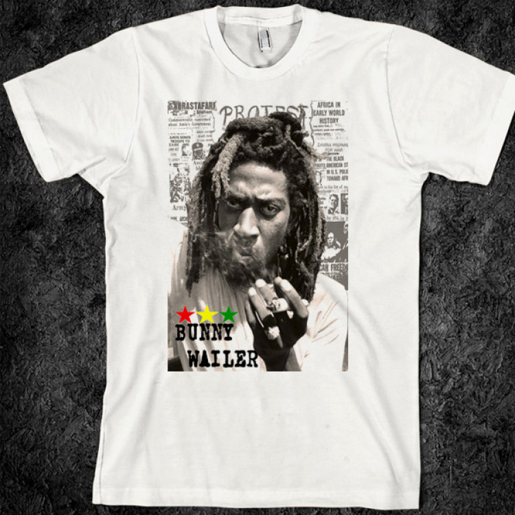 Bunny wailer smokin herb reggae t shirt