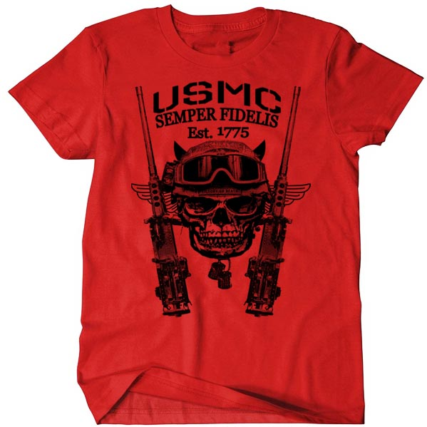 b0de3970 USMC T-Shirt Marine Corps .50 Caliber Gun Combat Arms Men Cotton Tee